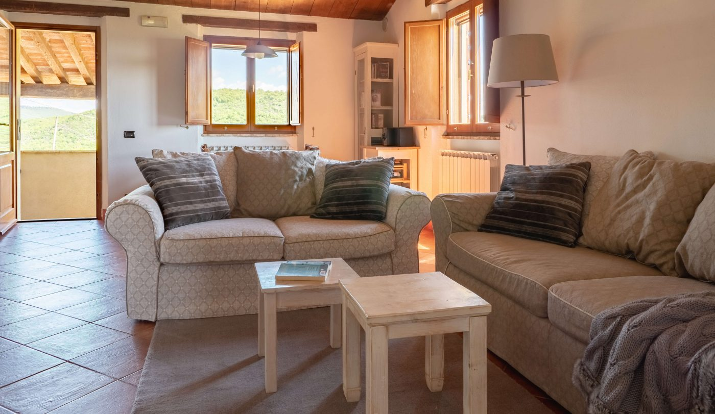 Spacious lounge with comfortable sofas and great views